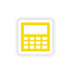 Icon sticker realistic design on paper calculator vector