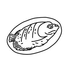 Ikan bakar grilled fish icon doodle hand drawn vector