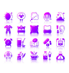 Insomnia simple gradient icons set vector