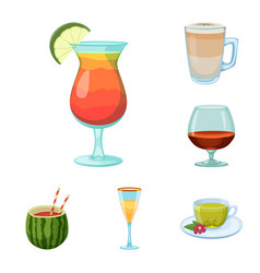 isolated object of drink and bar logo set of vector image