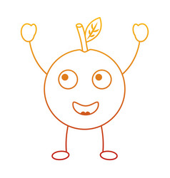 kawaii cartoon orange fruit funny character vector image
