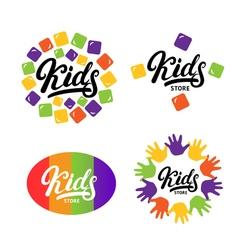 Kids hand written lettering logo label bage emblem vector image
