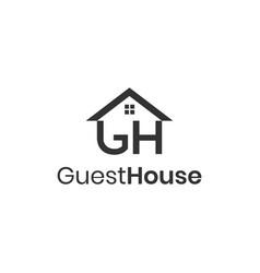 Letters gh guest house logo design concept vector