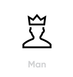 Man customer icon editable line vector