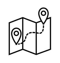 map with route icon on white background vector image