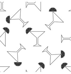Martini glass seamless pattern cocktail with lime vector
