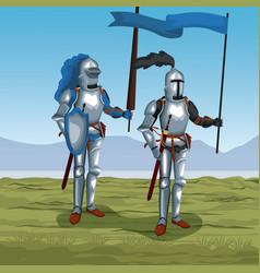 Medieval warriors on battlefield vector