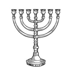 Menorah hebrew symbol sketch engraving vector