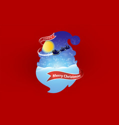 merry christmas and santa red background vector image