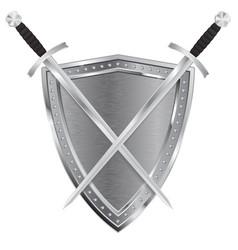 metal shield and swords vector image
