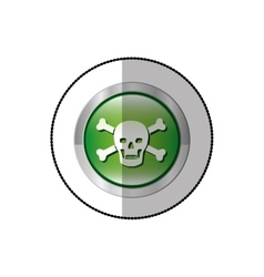 Middle shadow sticker of skull and bones in circle vector