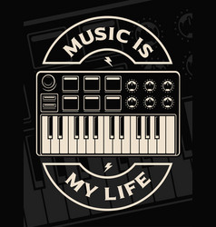 midi keyboard on the dark background vector image