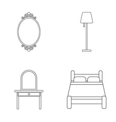 Mirror drawer table lamp bedfurniture set vector