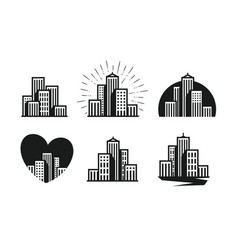 modern city logo skyscraper building house vector image
