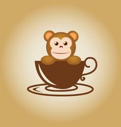 Monkey logo coffee vector