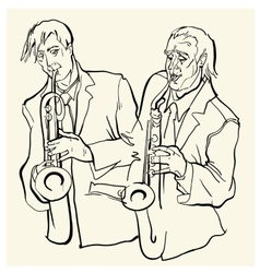 Musicans of jazz sketches vector image