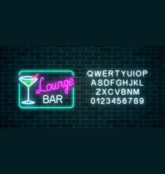 neon cocktails lounge bar sign in rectangle frame vector image