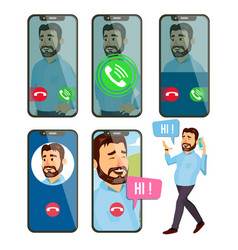 online call man face mobile smartphone vector image