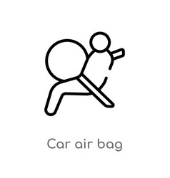 outline car air bag icon isolated black simple vector image