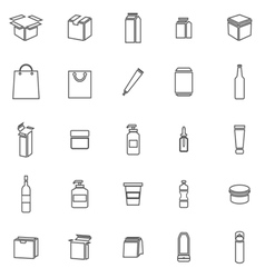 Packaging line icons on white background vector