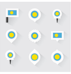 Palau flag and pins for infographic and map design vector