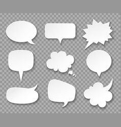 Paper speech bubbles white blank thought balloons vector