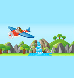 Pilot flying jet over the waterfall vector
