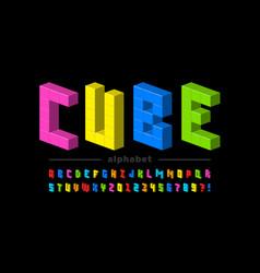 plastic cubes font vector image