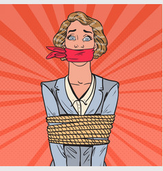 Pop art scared businesswoman tied up with rope vector