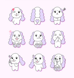 pretty dog character9 different actions vector image