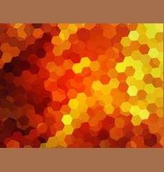 Red background with mosaic flame hexagons vector