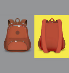 Red backpack mockup set isolated vector