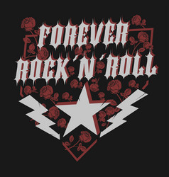 rock star with rose lettering print for card vector image