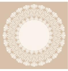 Round white ornament frame vector