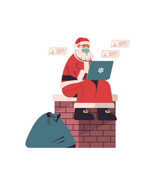 santa claus in protective mask sitting on chimney vector image