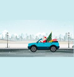 santa driving vector image