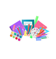 school supplies and art materials for drawing vector image
