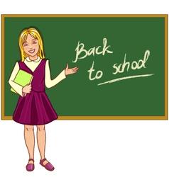 Schoolgirl at blackboard vector image