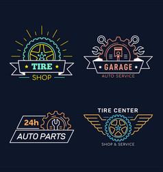 set car service and repair badge design vector image
