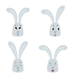 Set of cute rabbits funny little bunny vector