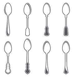 Set of eight tablespoons vector