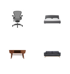Set of furniture realistic symbols with settee vector