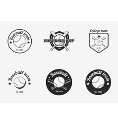 set vintage black and white baseball vector image