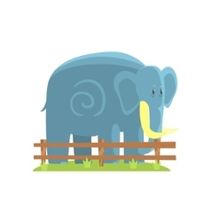 Simplified blue elephant standing on green grass vector