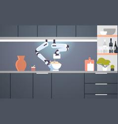 Smart handy chef robot using mixer kneading dough vector