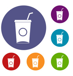 Soft drink in paper cup icons set vector
