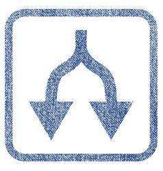 Split arrows down fabric textured icon vector