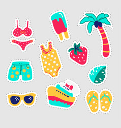summer stickers set fun stickers design in vector image
