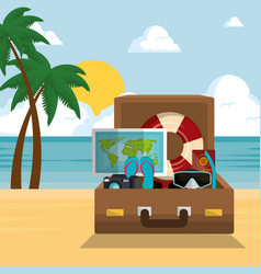 summer time beach with icons vector image
