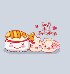 Sushi and dumplings vector